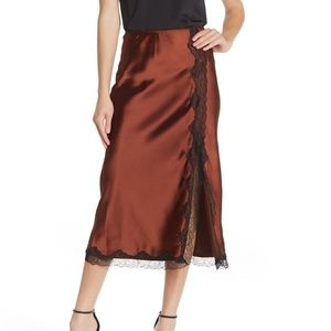 TOPSHOP Dark Brown Lace Trim Satin Midi Skirt 14